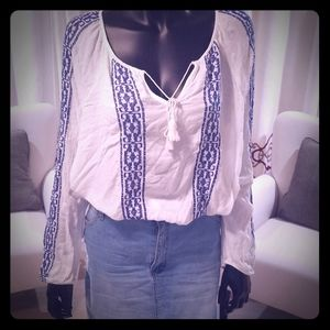 Blue and White Bohemian Top